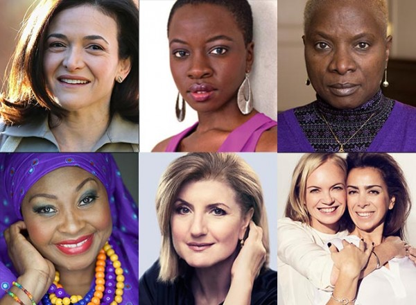 Clockwise from top left: Sheryl Sandberg, Danai Gurira, Angelique Kidjo, Mariella Frostrup and Karen Ruimy, Ariana Huffington, Yvonne Chaka Chaka.